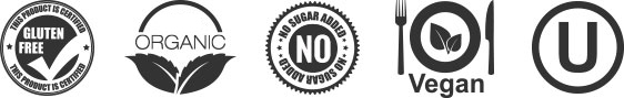 Gluten free, Organic, No sugar added, Vegan, Kosher